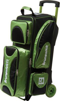 Brunswick Bowling Flash X Triple Bowling Ball Roller Bag Lime/Black - Brunswick Bowling Bowling Bags