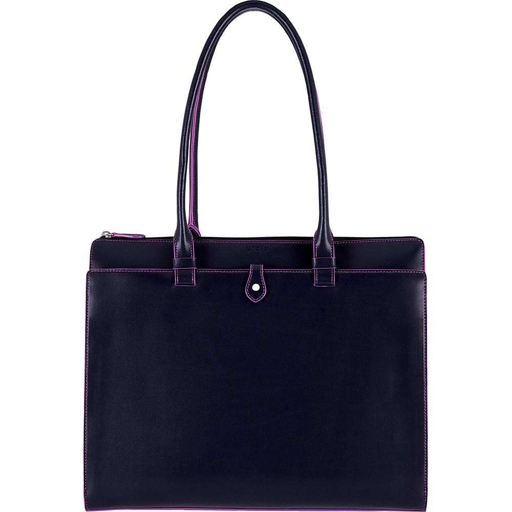 Lodis Audrey RFID Jessica Work Satchel Navy/Orchid - Lodis Leather Handbags - Handbags, Leather Handbags