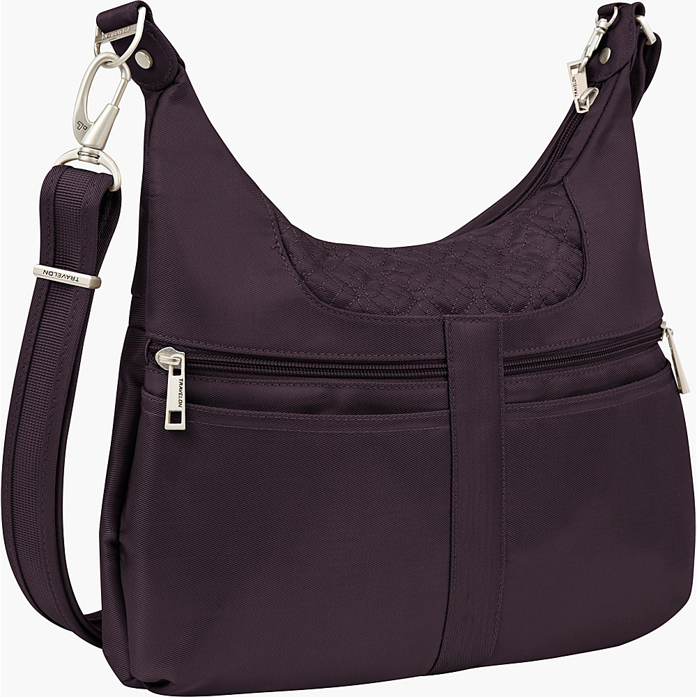 Travelon Anti theft Signature Multi Pocket Hobo Bag Eggplant Gray Travelon Fabric Handbags