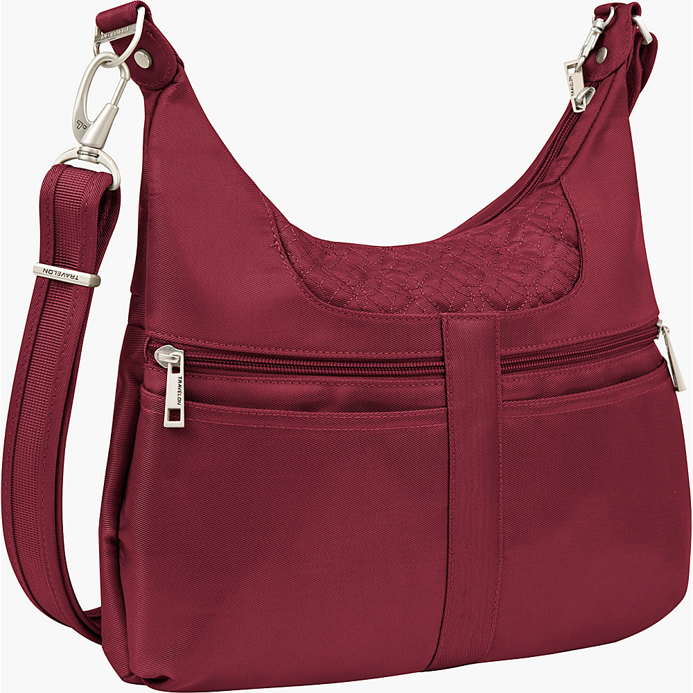 Travelon Anti theft Signature Multi Pocket Hobo Bag Cranberry Light Sand Travelon Fabric Handbags