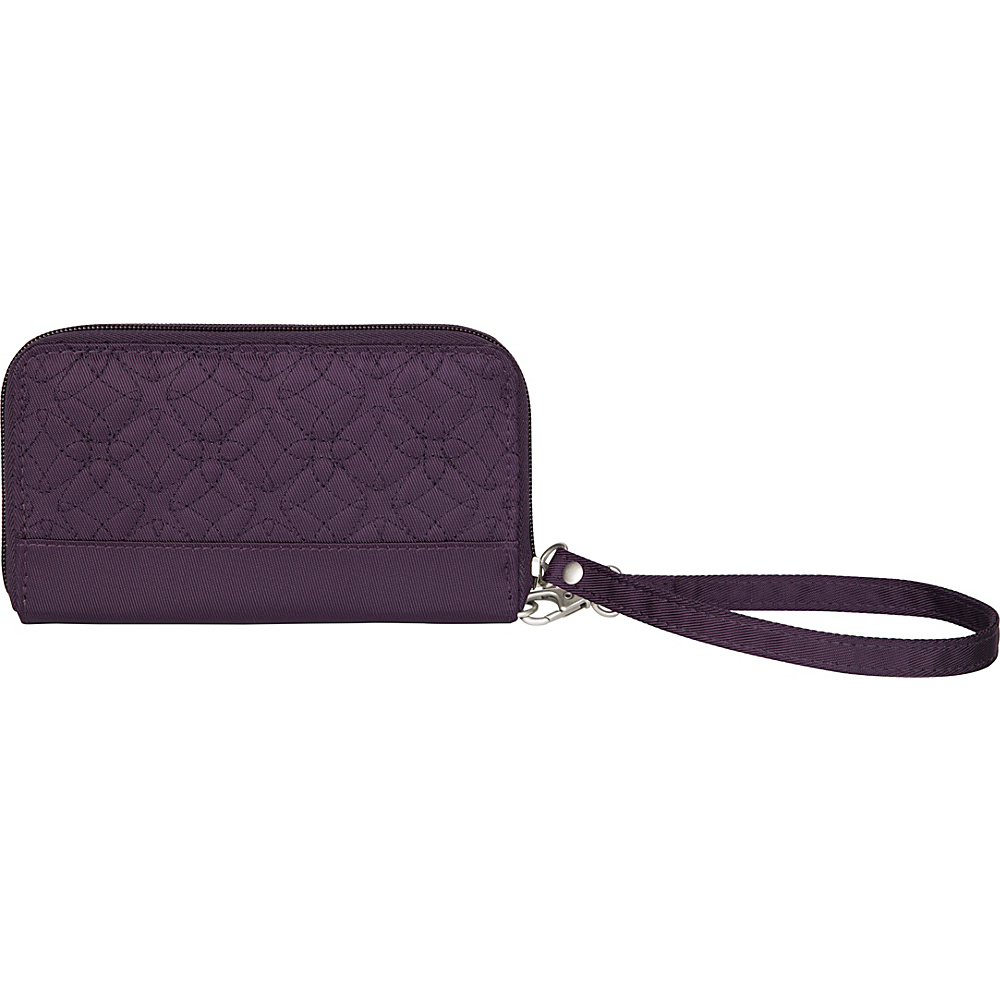 Travelon RFID Signature Embroidered Phone Clutch Wallet Eggplant Travelon Women s Wallets