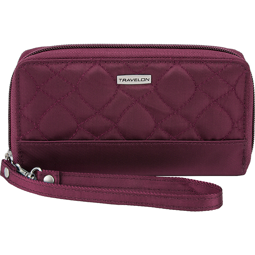 Travelon RFID Signature Embroidered Phone Clutch Wallet Wineberry/Sand - Travelon Womens Wallets - Women's SLG, Women's Wallets