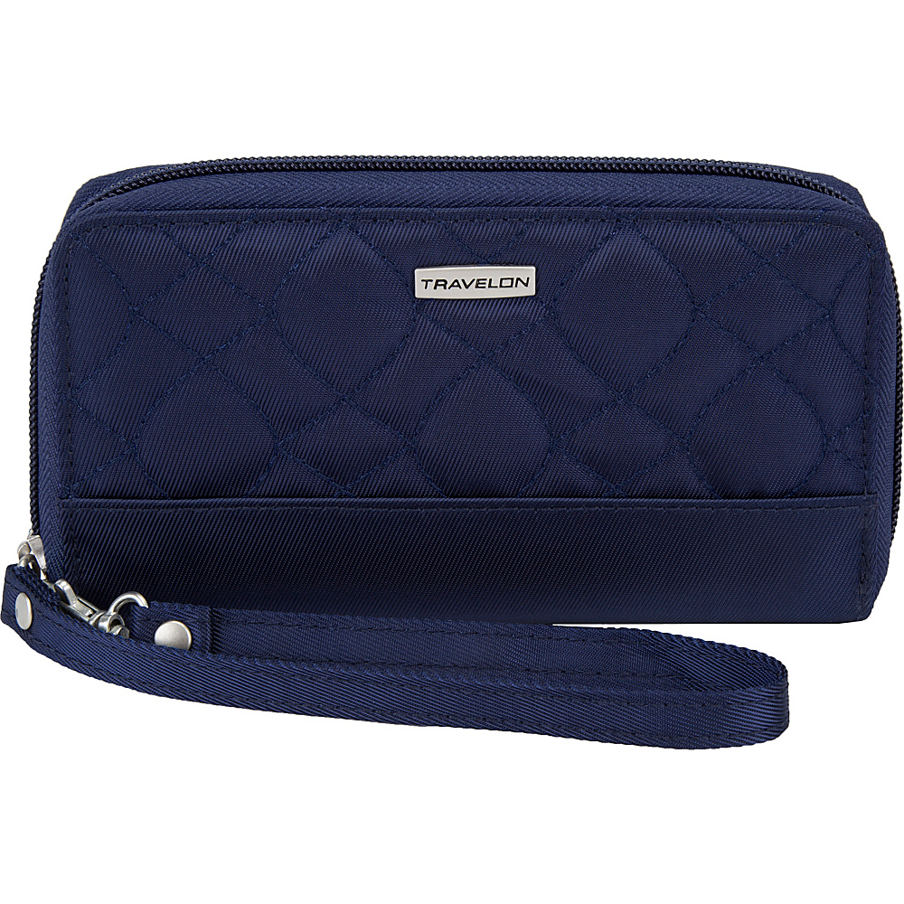 Travelon RFID Signature Embroidered Phone Clutch Wallet Lush Blue/Gray - Travelon Womens Wallets - Women's SLG, Women's Wallets