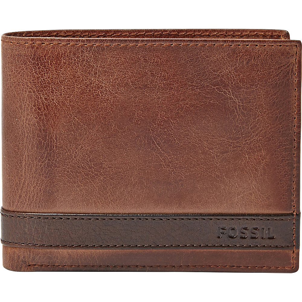 Fossil Quinn Large Coin Pocket Bifold Brown - Fossil Mens Wallets - Work Bags & Briefcases, Men's Wallets