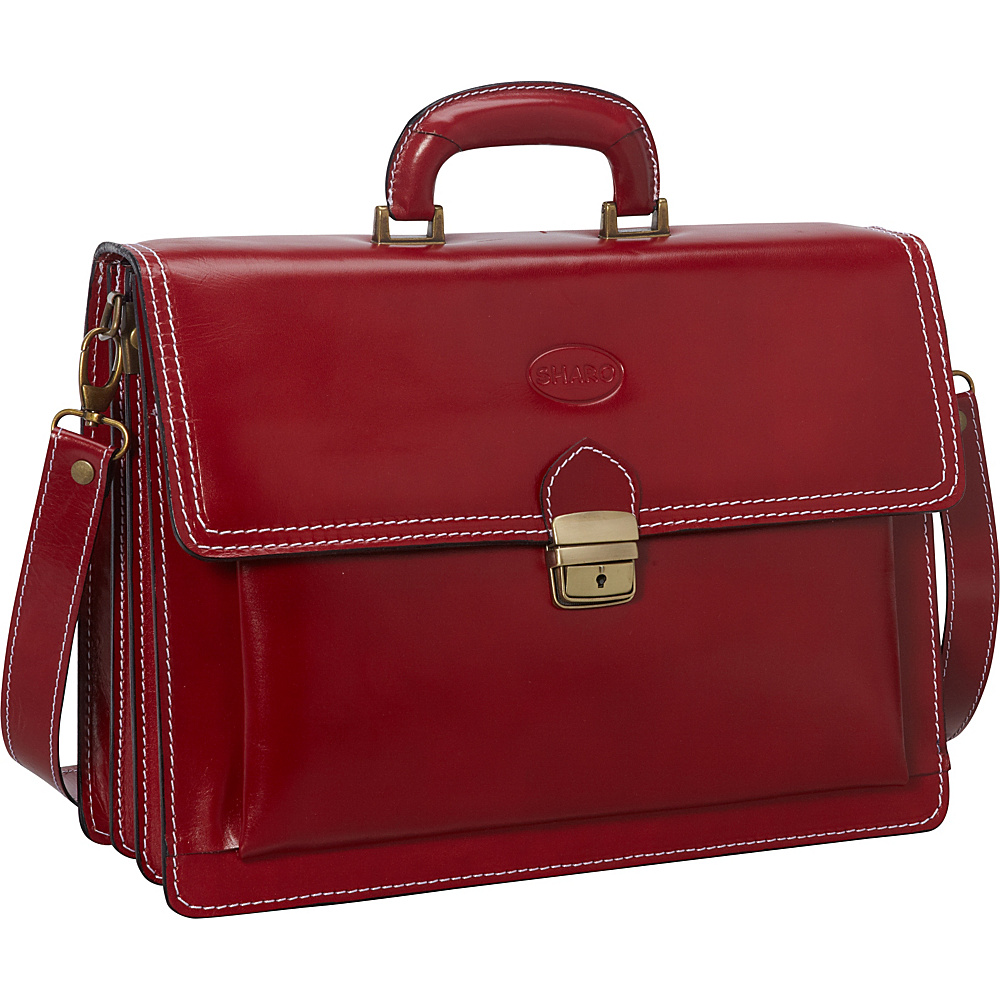 Sharo Leather Bags Italian Leather Computer Brief and Messenger Bag Apple Red - Sharo Leather Bags Non-Wheeled Business Cases