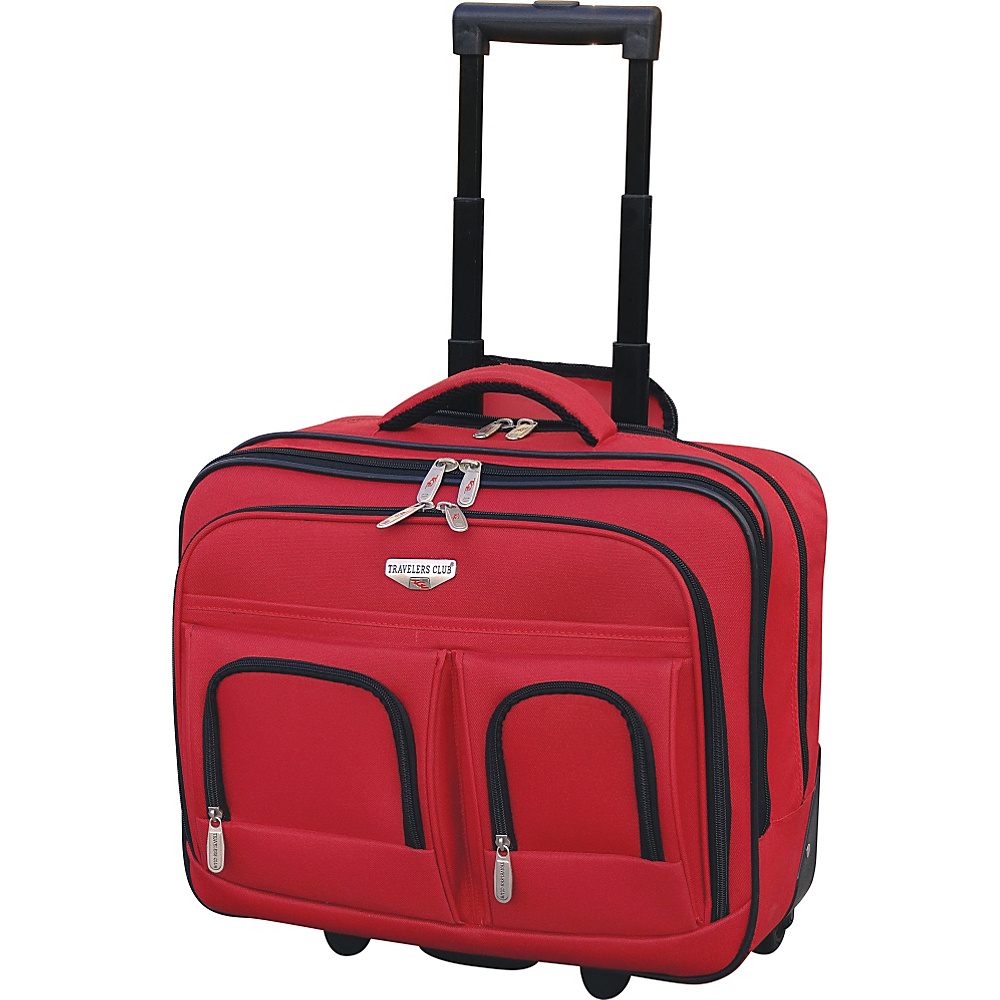 "Travelers Club Luggage 17"" 2-Section Rolling Briefcase w/ Padded Laptop Compartment Red - Travelers Club Luggage Wheeled Business Cases"