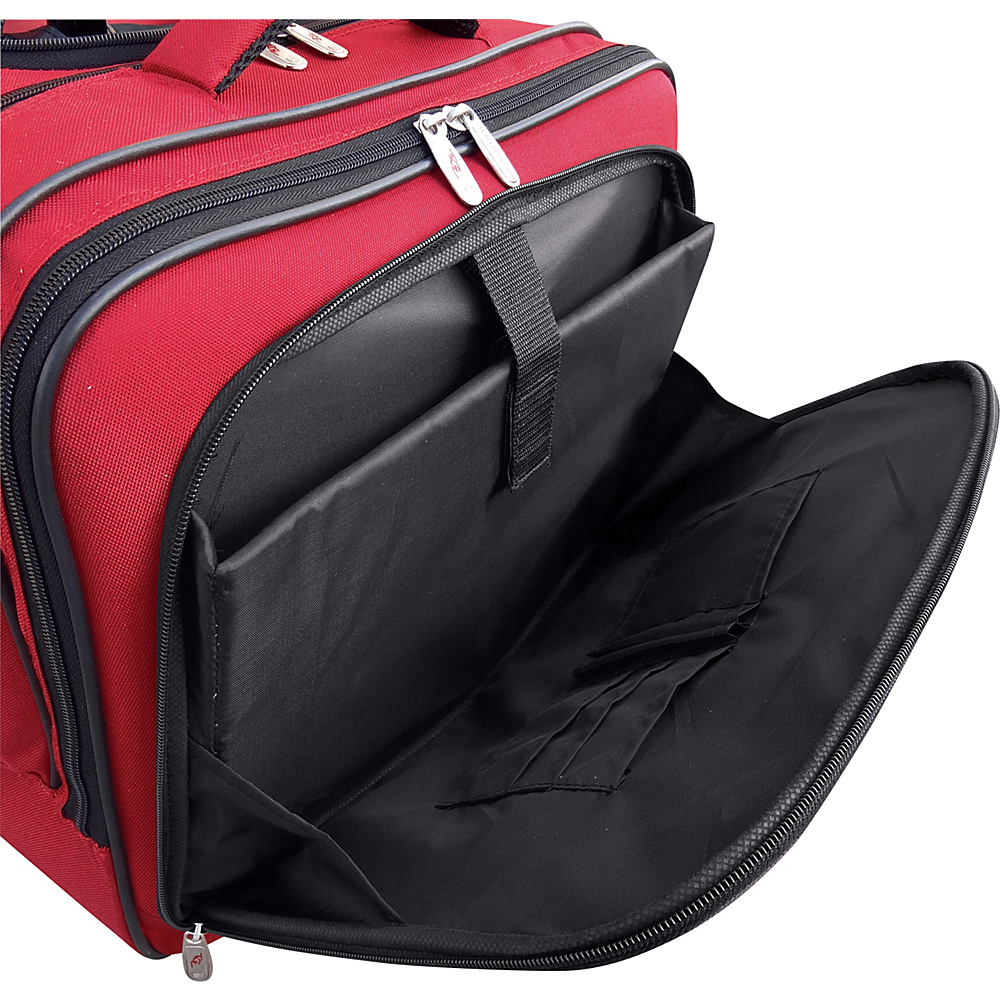 """Travelers Club Luggage 17"""" 2-Section Rolling Briefcase w/ Padded Laptop Compartment Red - Travelers Club Luggage Wheeled Business Cases"""