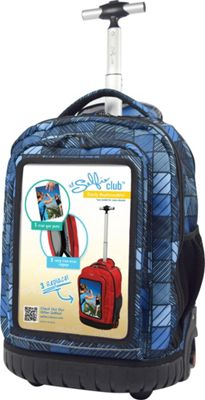 Travelers Club Luggage 18 inch Selfie Rolling Backpack w/ Personalized Front Pocket Blue Stripes - Travelers Club Luggage Rolling Backpacks