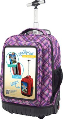 Travelers Club Luggage 18 inch Selfie Rolling Backpack w/ Personalized Front Pocket Purple Plaid - Travelers Club Luggage Rolling Backpacks