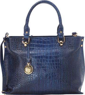 Leatherbay Velletri Italian Leather Shoulder Bag Blue - Leatherbay Leather Handbags