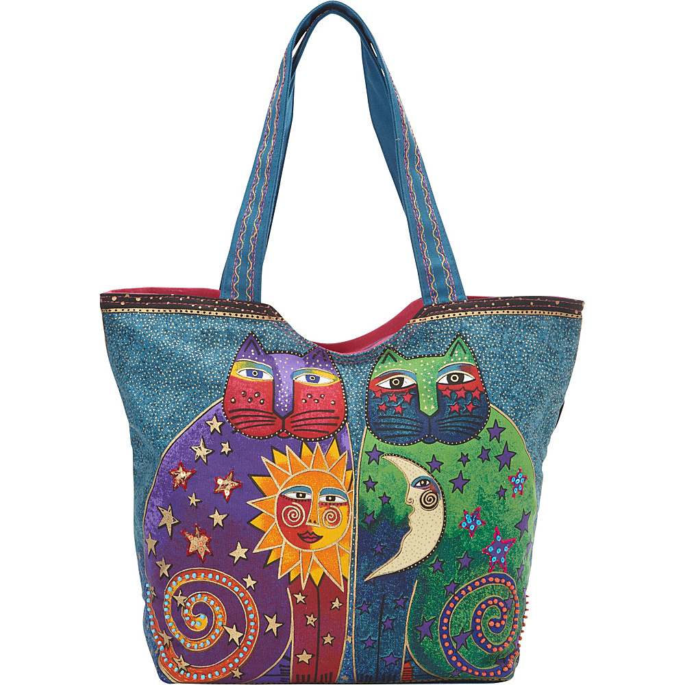 Laurel Burch Celestial Felines Scoop Tote Multi Laurel Burch Fabric Handbags