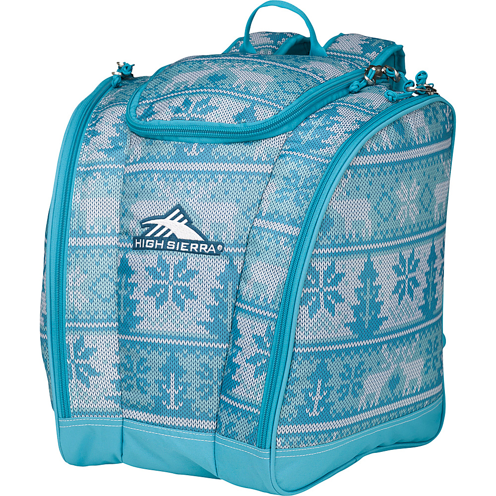 High Sierra Junior Trapezoid Boot Bag Knitty Pow/Tropical Teal - High Sierra Ski and Snowboard Bags