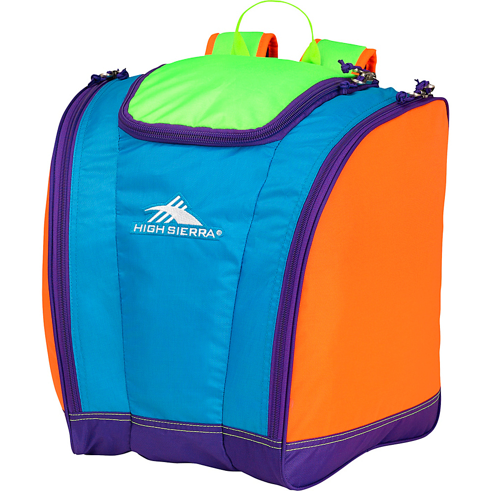 High Sierra Junior Trapezoid Boot Bag Neon Colorblock - High Sierra Ski and Snowboard Bags