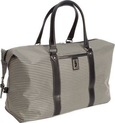 London Fog Cambridge 22 inch Weekender Black White Houndstooth - London Fog Travel Duffels