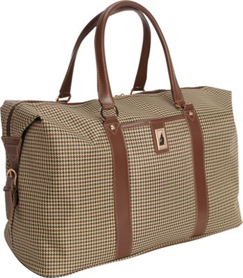 London Fog Cambridge 22 inch Weekender Olive Plaid Houndstooth - London Fog Travel Duffels