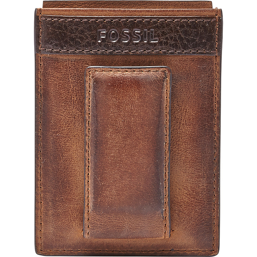 Fossil Quinn Magnetic Card Case Brown - Fossil Mens Wallets - Work Bags & Briefcases, Men's Wallets