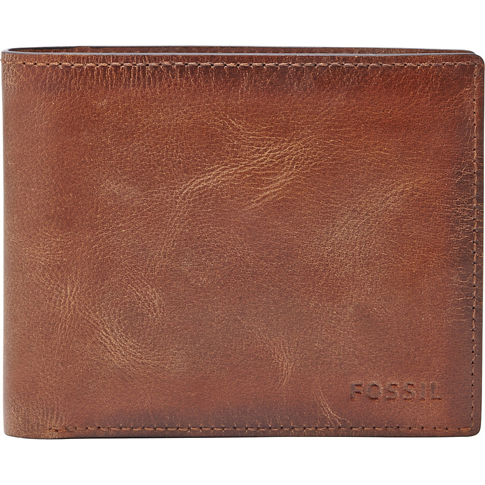 Fossil Derrick Large Coin Pocket Bifold Brown - Fossil Mens Wallets - Work Bags & Briefcases, Men's Wallets