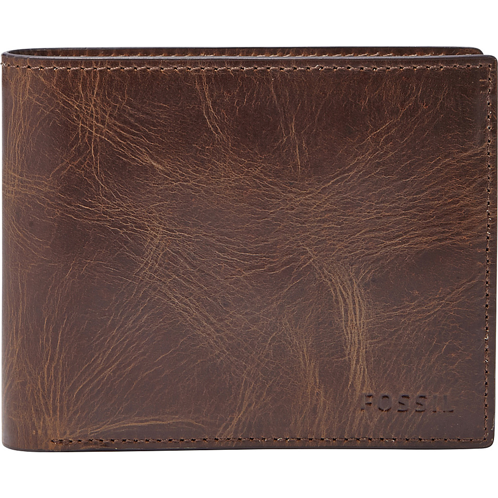Fossil Derrick Large Coin Pocket Bifold Dark Brown - Fossil Mens Wallets - Work Bags & Briefcases, Men's Wallets