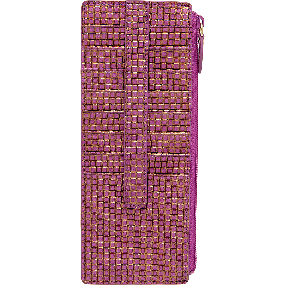 Lodis Sophia Woven Credit Card Case with Zipper Pocket Plum Gold Lodis Women s Wallets
