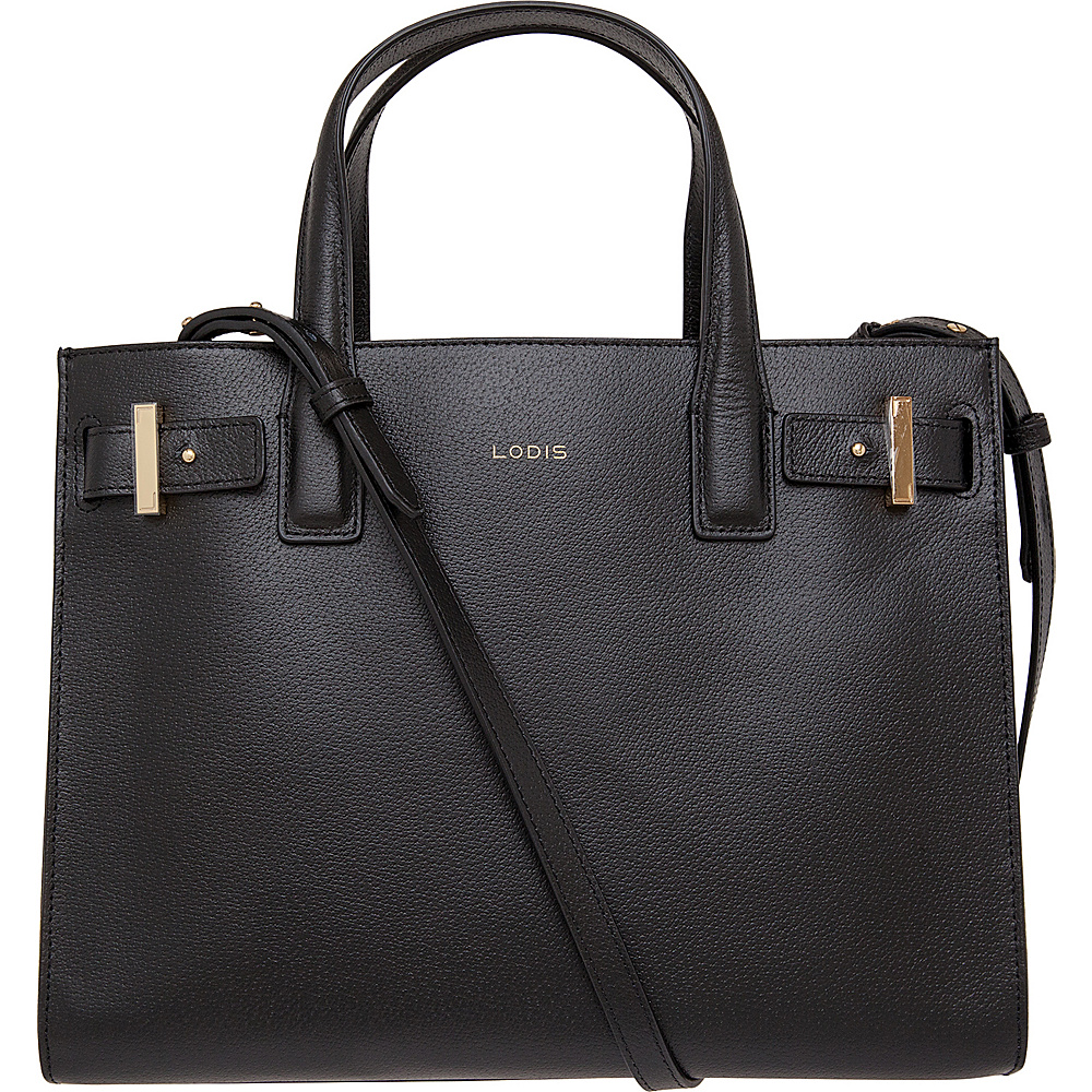 Lodis Stephanie Tara Satchel with RFID Protection Black Lodis Leather Handbags
