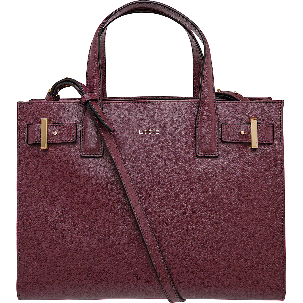 Lodis Stephanie Tara Satchel with RFID Protection Burgundy Lodis Leather Handbags