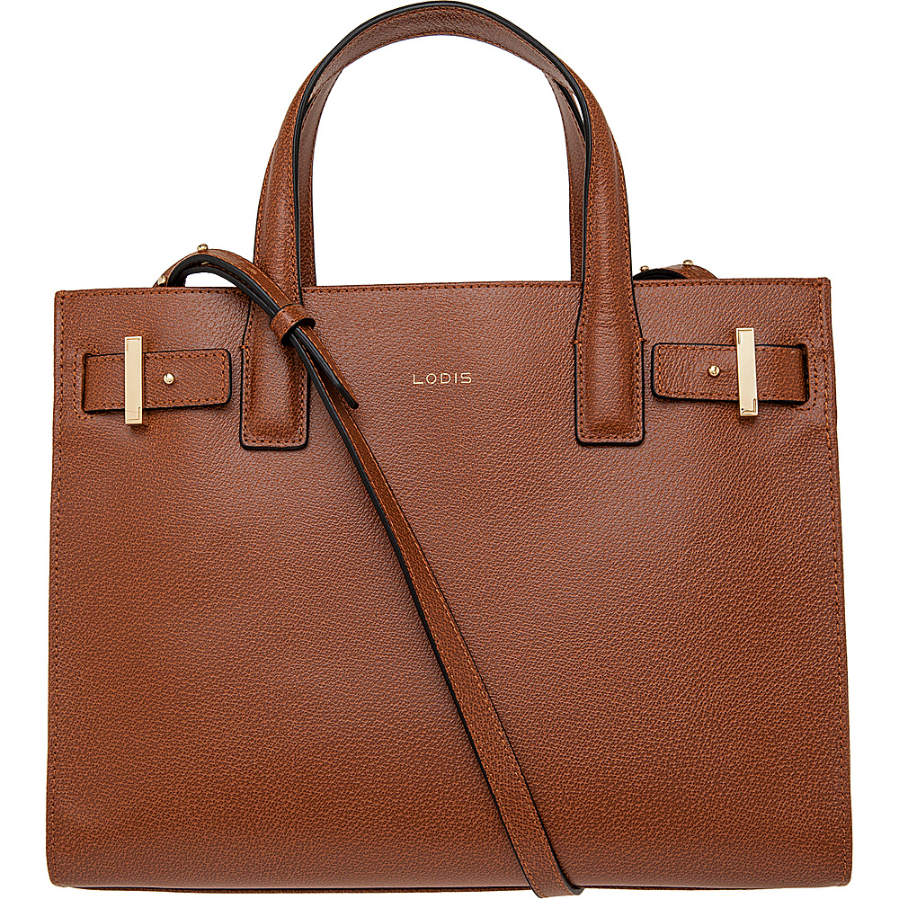 Lodis Stephanie Tara Satchel with RFID Protection Chestnut Lodis Leather Handbags