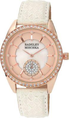 Image of Badgley Mischka Watches Round Crystal Watch White/Rose Gold - Badgley Mischka Watches Watches