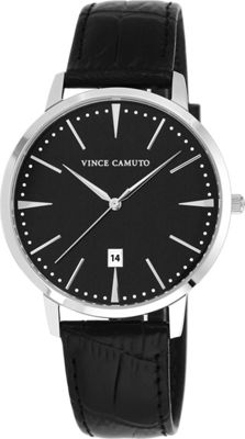 Vince Camuto Watches Silver-Tone Round Watch with Leather Strap Black/Silver/Black - Vince Camuto Watches Watches