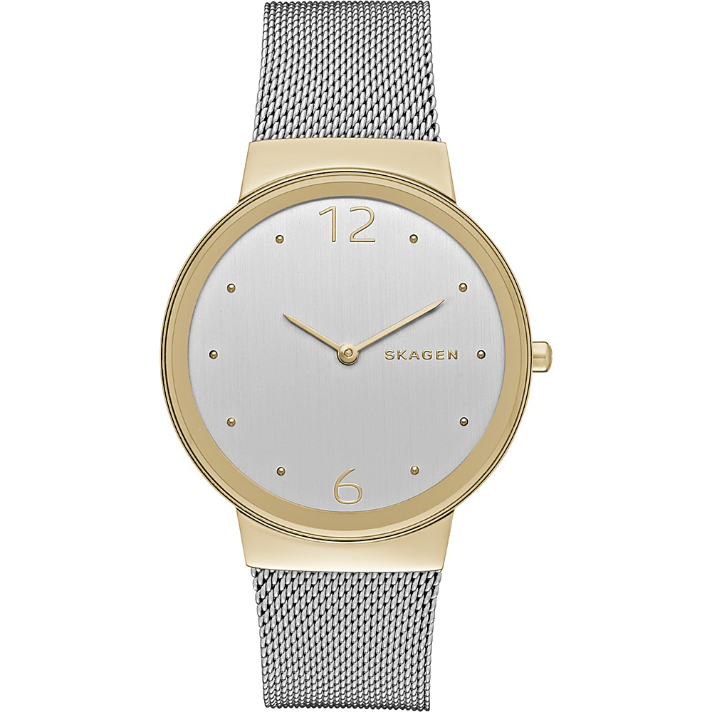 Skagen Freja Steel Mesh Watch Silver Gold Skagen Watches