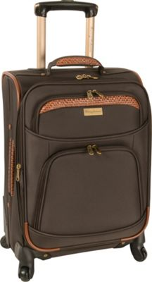 Tommy Bahama Santorini 20 inch Expandable Spinner Dark Brown/Cognac - Tommy Bahama Softside Carry-On