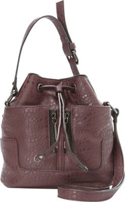 French Connection Erin Mini Drawstring Shoulder Bag Biker Berry - French Connection Manmade Handbags