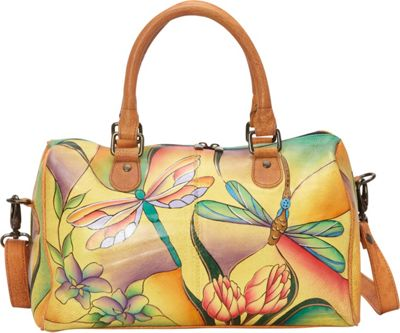 ANNA by Anuschka Large Zip Around Satchel Dragonfly Glass Painting - ANNA by Anuschka Leather Handbags