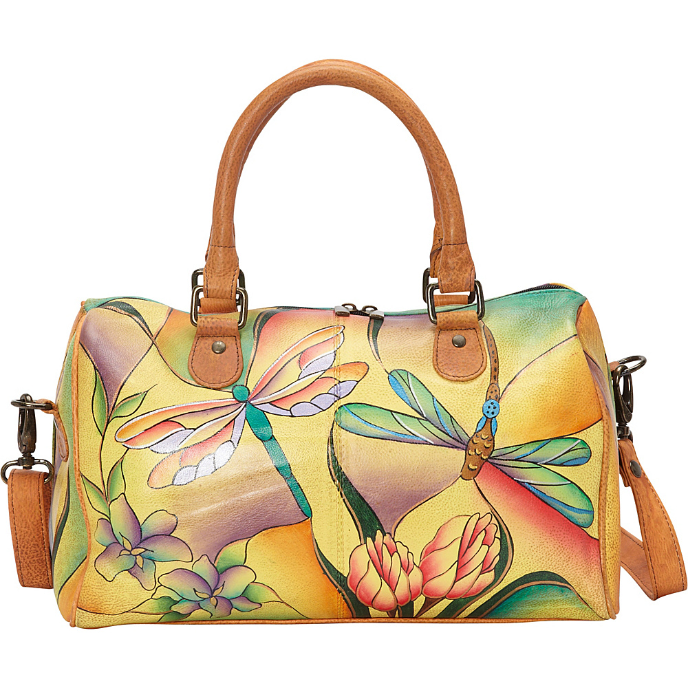 ANNA by Anuschka Large Zip Around Satchel Dragonfly Glass Painting ANNA by Anuschka Leather Handbags