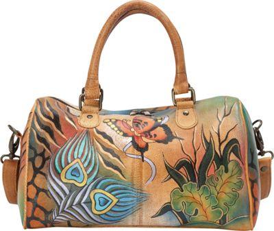 ANNA by Anuschka Large Zip Around Satchel Peacock Collage - ANNA by Anuschka Leather Handbags