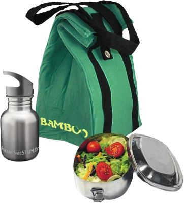 New Wave Bamboo - Eco Lunch Kit Green - New Wave Travel Coolers
