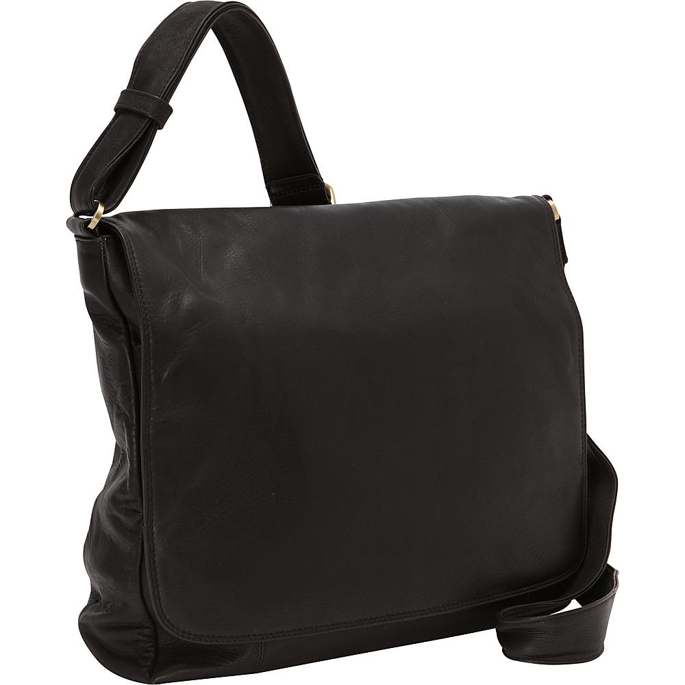 Derek Alexander Large 3/4 Flap Unisex Messenger Bag Black - Derek Alexander Messenger Bags - Work Bags & Briefcases, Messenger Bags