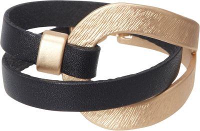 Samoe Black Leather and Gold Wrap Bracelet Black - Samoe Jewelry