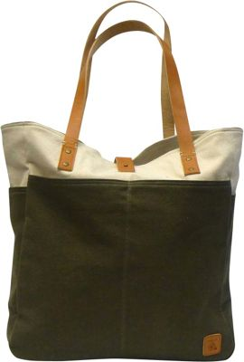 Maker & Co Bi-Color Canvas Tote Bag Olive - Maker & Co All-Purpose Totes