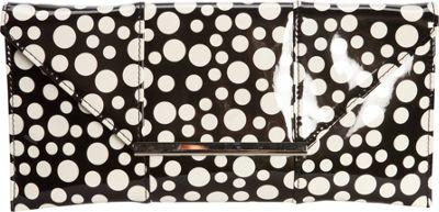 JNB Patent Clutch In Polka Dot Black - JNB Manmade Handbags