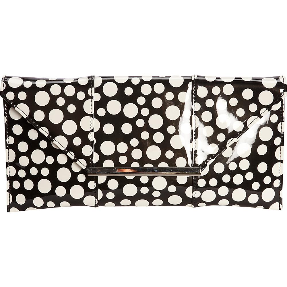 JNB Patent Clutch In Polka Dot Black JNB Manmade Handbags