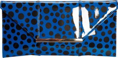 JNB Patent Clutch In Polka Dot Royal Blue - JNB Manmade Handbags
