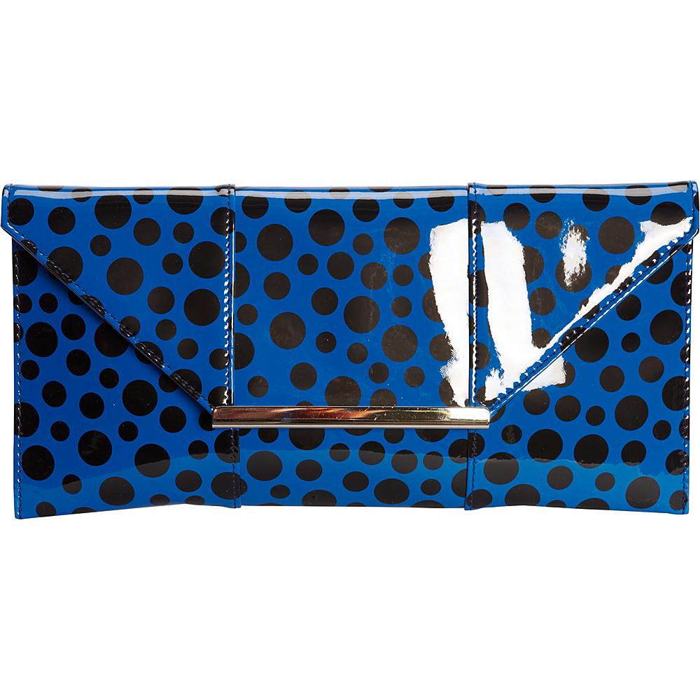 JNB Patent Clutch In Polka Dot Royal Blue JNB Manmade Handbags