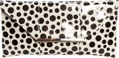 JNB Patent Clutch In Polka Dot White - JNB Manmade Handbags
