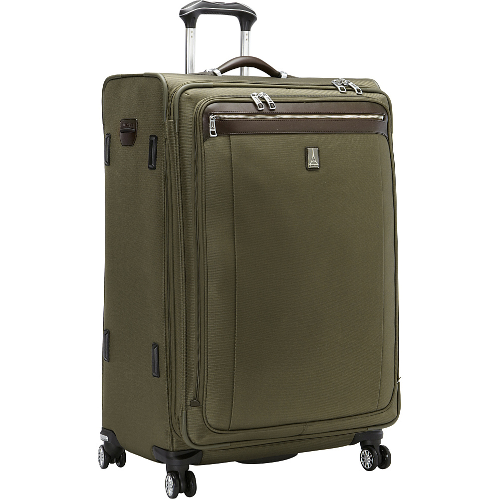 "Travelpro Platinum Magna 2 29"" Expandable Spinner Olive - Travelpro Softside Checked"