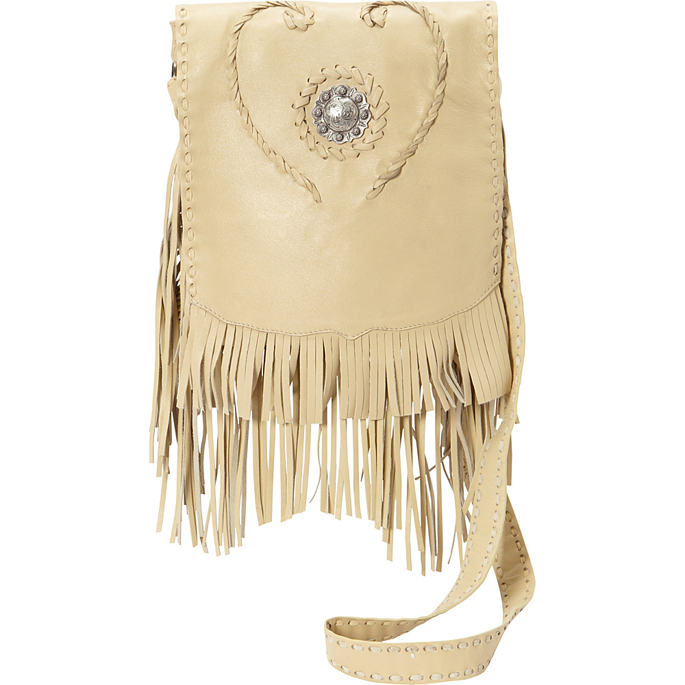 Scully Full Flap with Concho and Fringe Shoulder Bag Caramel Scully Leather Handbags
