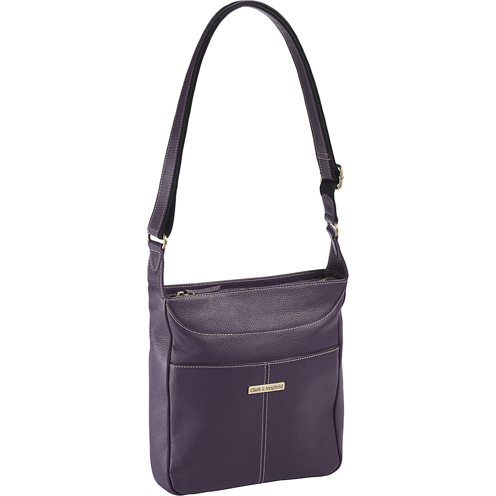 Clark Mayfield Morrison Leather Tablet Crossbody Purple Clark Mayfield Leather Handbags