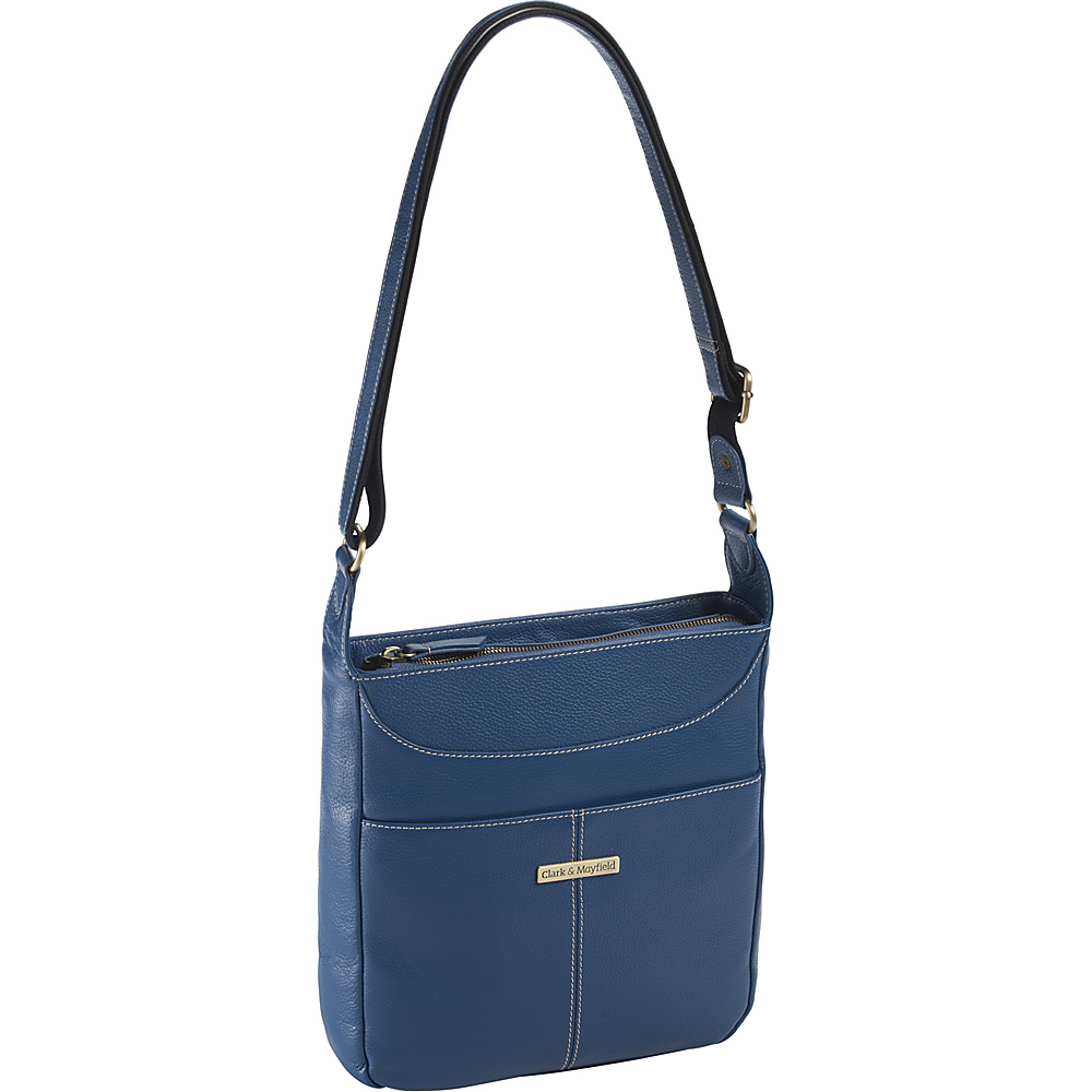 Clark Mayfield Morrison Leather Tablet Crossbody Blue Clark Mayfield Leather Handbags