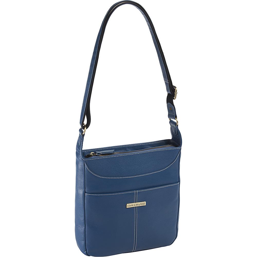 Clark Mayfield Morrison Leather Tablet Crossbody Blue Clark Mayfield Leather Handbags
