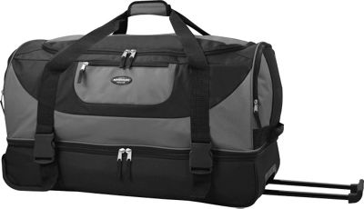 Travelers Club Luggage 30 inch Adventure EXTRA Spacious 2-Section Double Compartment Rolling Duffel Grey - Travelers Club Luggage Travel Duffels