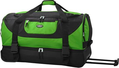 Travelers Club Luggage 30 inch Adventure EXTRA Spacious 2-Section Double Compartment Rolling Duffel Green - Travelers Club Luggage Travel Duffels